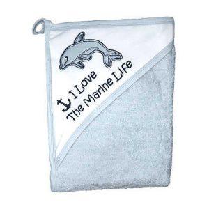 מגבת חיבוקי עם קפוצ'ון עבה וגדולה במיוחד – דולפין תכלת