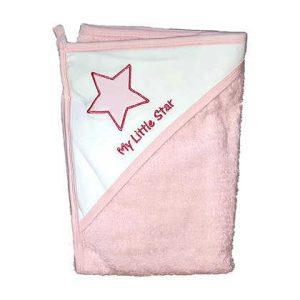 מגבת חיבוקי עם קפוצ'ון עבה וגדולה במיוחד – כוכב קטן שלי ורוד