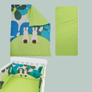"""סט מצעים למיטת תינוק  """"toTs"""" ארנב ירוק"""