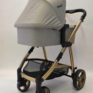 עגלת תינוק משולבת דגם דיימונד DIAMOND DLX אפור שלדת זהב- אינפנטי INFANTI