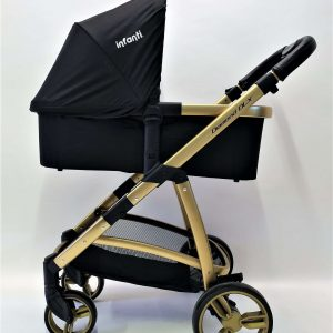 עגלת תינוק משולבת דגם דיימונד DIAMOND DLX שחור שלדת זהב- אינפנטי INFANTI