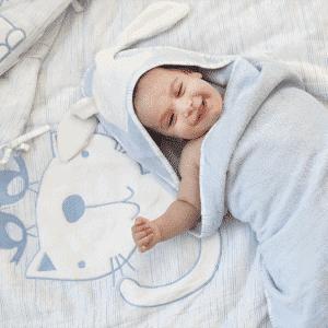 """סט מצעים למיטת תינוק  """"toTs"""" תכלת מלאנג'"""
