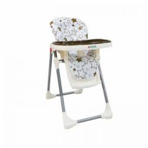 כיסא האכלה דגם LUNCH – בייבי מישל – לבן עם כוכבים