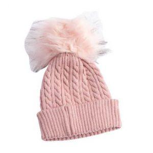 כובע פונפון לתינוק צבע ורוד גילאי 0-12