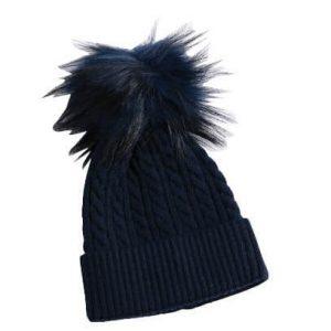 כובע פונפון לתינוק צבע כחול כהה גילאי 0-12