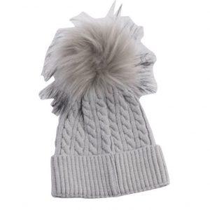 כובע פונפון לתינוק צבע אפור גילאי 0-12