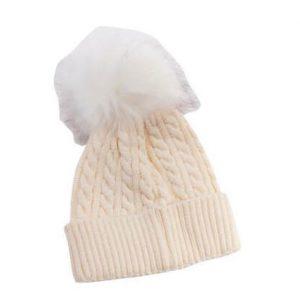 כובע פונפון לתינוק צבע שמנת גילאי 0-12