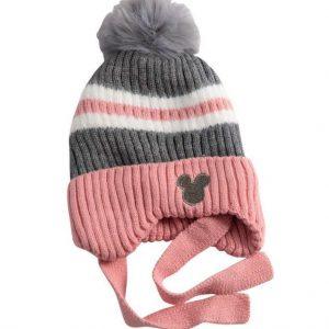 כובע מיקי פסים ורוד אפור מגיל שנה עד שנתיים