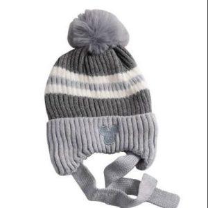 כובע מיקי פסים  אפור מגיל שנה עד שנתיים