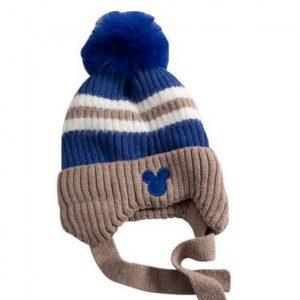 כובע מיקי פסים חום כחול מגיל שנה עד שנתיים