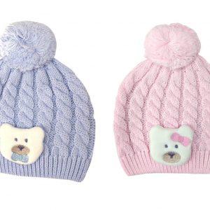 כובע דובי סרוג לתינוק מידות NB-6 חודשים