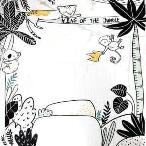 שמיכה חודשית מאויירת – מיננה – לבן מודפס
