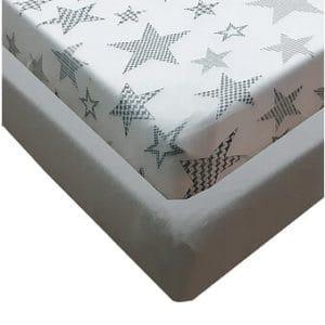 סט מצעים ג'רסי Jersey למיטת מעבר – כוכבים גדולים אפור
