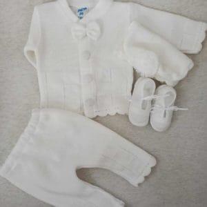 חליפה לברית סרוג מלא – לבן