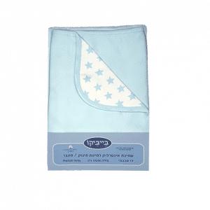 """שמיכה משולבת דו שכבתית 100% כותנה – כוכבים תכלת – *130/90 ס""""מ"""