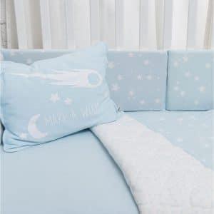 סט מצעים למיטת תינוק – מיננה – כחול כוכבים