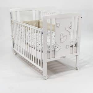 מיטת תינוק דגם טדי -צבע לבן – בייבי מישל