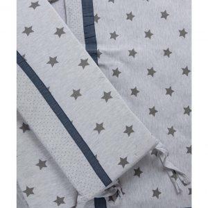 סט מצעים קלאסי למיטת תינוק אפור כוכבים –  מיננה