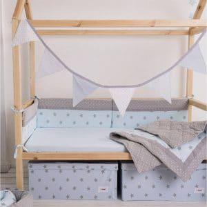 סט מצעים קלאסי למיטת תינוק תכלת –  מיננה