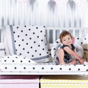 סט מצעים קלאסי למיטת תינוק שחור כוכבים –  מיננה