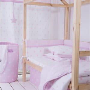 סט מצעים קלאסי למיטת תינוק ורוד כוכבים –  מיננה